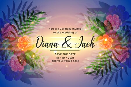 awesome wedding invitation card design with colorful flowers