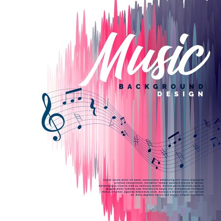 musical event background with music notes and abstract lines Иллюстрация