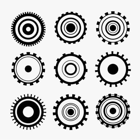 nine gears symbol icons set Illustration