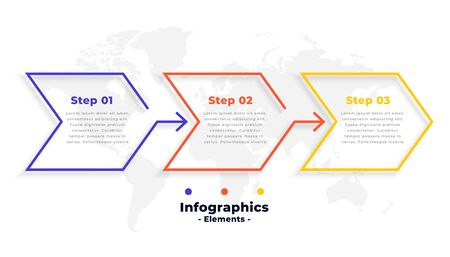 three steps business infographics in arrow line style Çizim