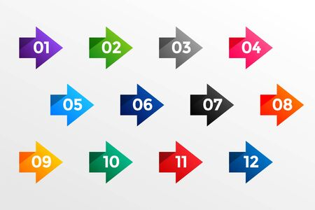 arrow bullet point numbers from one to twelve Illustration