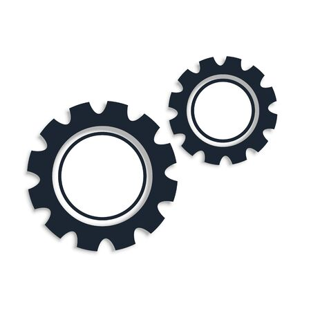 two gear icons on white background design