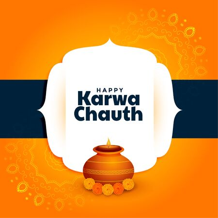 happy karwa chauth greeting with kalash and diya decoration