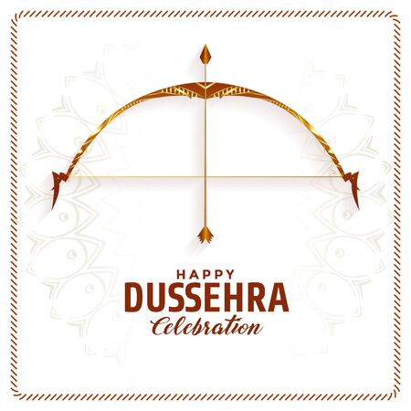 happy dussehra festival celebration background design with bow and arrow Illustration