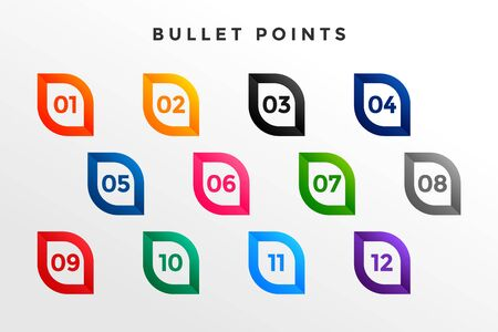 modern bullet point numbers from one to twelve