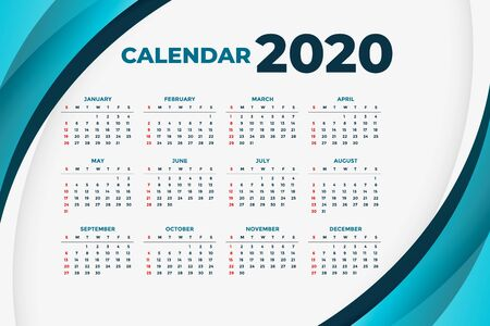 2020 business calendar concept design with blue curve shapes