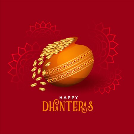 kalash with golden coins happy dhanteras festival card Illustration