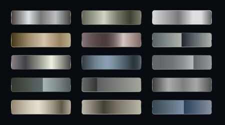 set of metallic gradients of silver bronze and gold foil texture