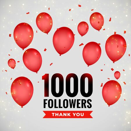 1000 followers thankyou poster with flying balloons