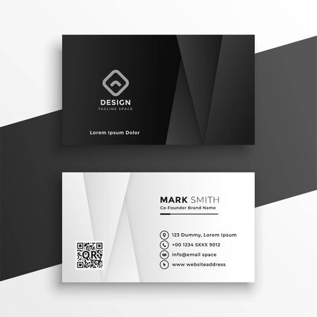 black and white geometric business card design template
