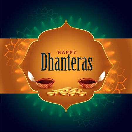 indian dhanteras festival card with diya and golden coins Illustration