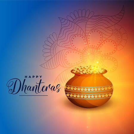 happy dhanteras festival greeting card beautiful design Illustration