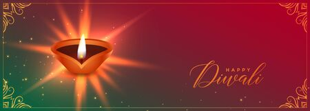 auspicious diwali festival banner with diya design