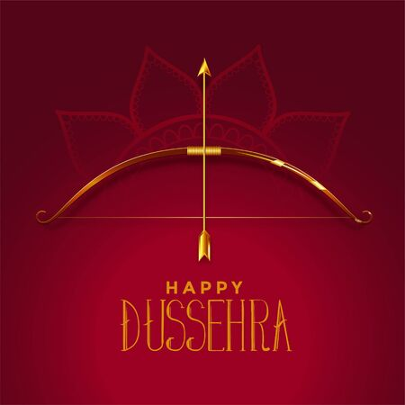 happy dusshera beautiful festival card with golden bow and arrow Illustration