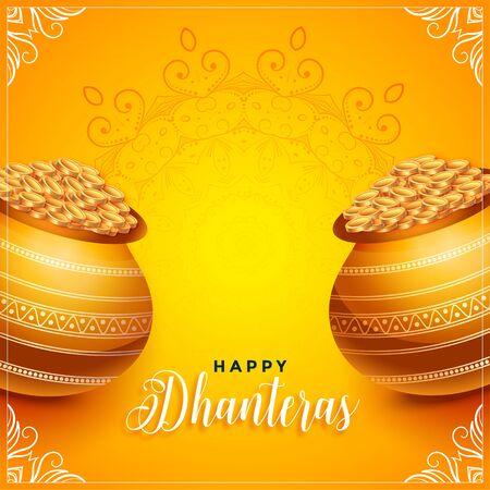 lovely dhanteras festival decorative card design with golden kalash Illustration