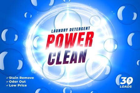 power clean laundry detergent concept packaging banner template