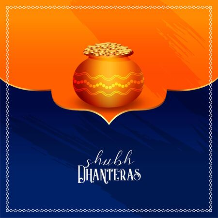 happy dhanteras festival card design in indian style