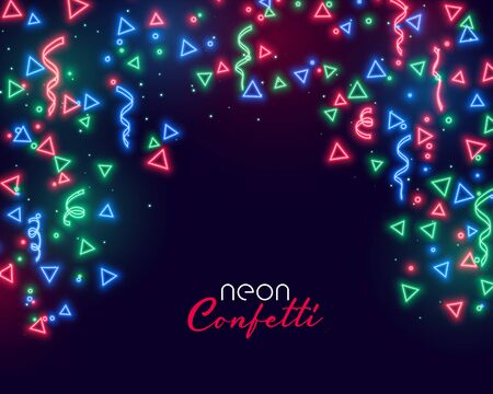 abstract confetti background in colorful neon glowing style
