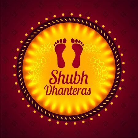 carte du festival shubh dhanteras avec empreintes de pas de dieu lakshmi