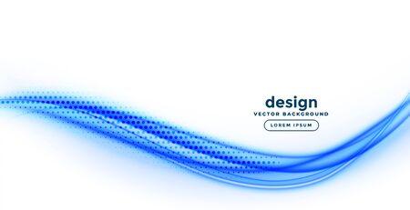 elegant smooth blue wavy shape on white background