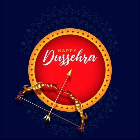 happy dussehra festival card design with dhanush baan