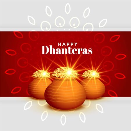 beautiful happy dhanteras festival greeting wishes card design Illustration