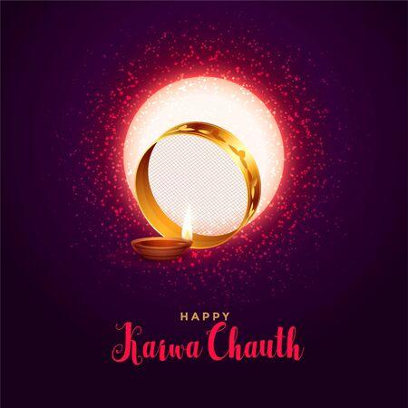 celebration background for karwa chauth festival with diya