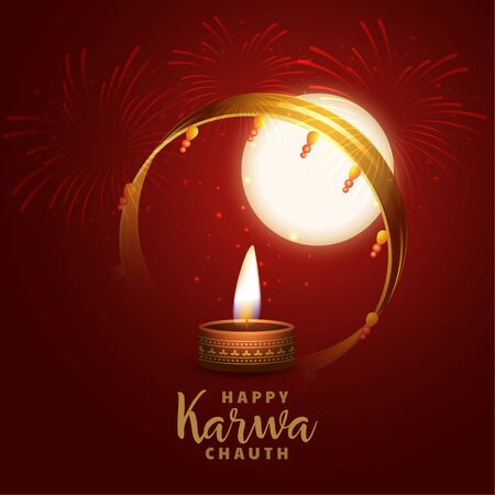 hindu festival of karwa chauth realistic background design Illustration