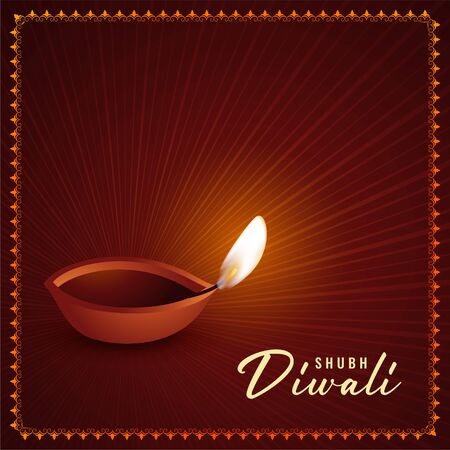 happy diwali realistic diya lamp traditional greeting design