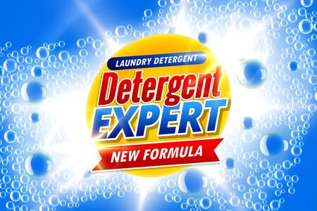 laundry detergent template ads banner with soap bubbles