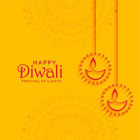 elegant yellow diwali festival background with diya decoration Illustration