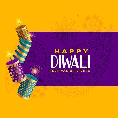 happy diwali crackers celebration background decoration design