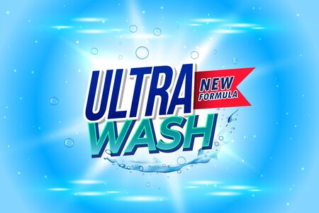ultra wash laundry detergent packaging concept design template Banque d'images - 130588678