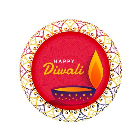 beautiful happy diwali festival design with diya