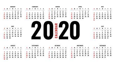 elegant 2020 calendar layout template design Vector Illustratie