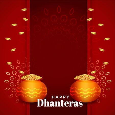 hindu dhanteras festival card design with text space