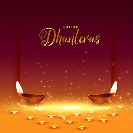 happy dhanteras card with golden coin and diya