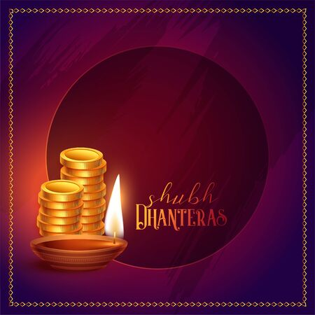 gold coins and diya happy dhanteras background