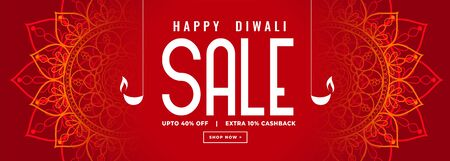 happy diwali red sale decorative banner design Vector Illustratie