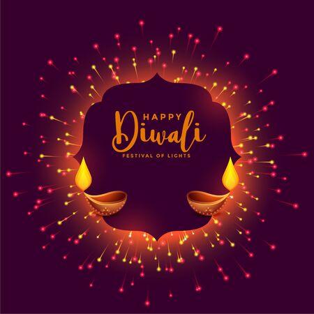 happy diwali celebration background with firework and diya