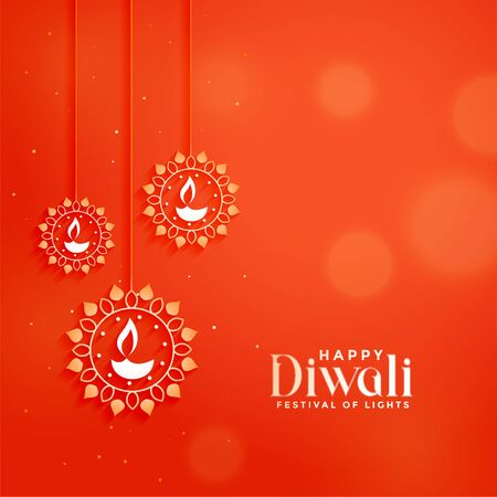 orange diwali festival card with hanging diya lamps