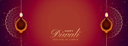 stylish happy diwali long banner with text space Stock Illustratie