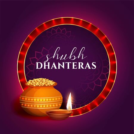 shubh dhanteras festival card decorative background design