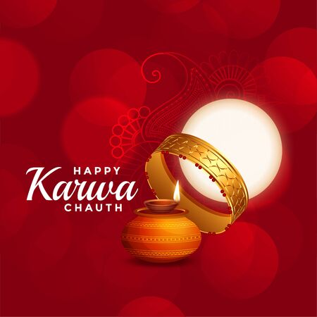 happy karwa chauth beautiful red background with full moon Иллюстрация
