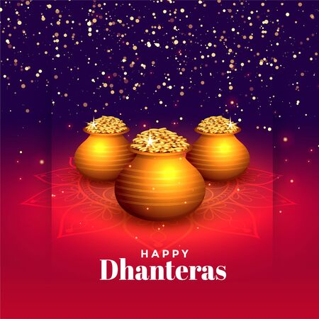 hindu festival of happy dhanteras sparkle background