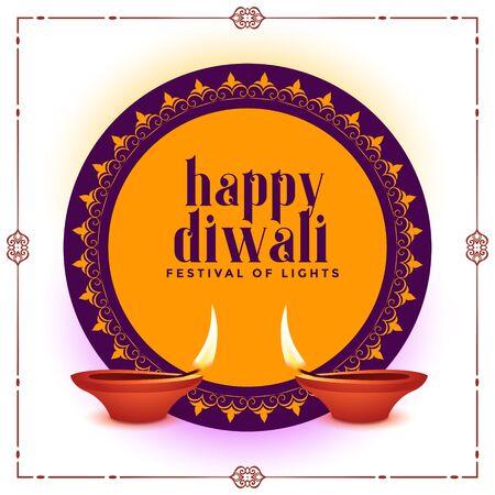 happy diwali creative festival banner with two diya
