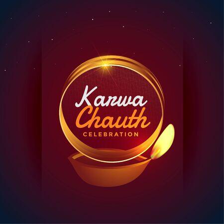 karwa chauth festival card with diya decoration design Illustration