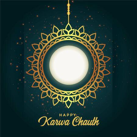 happy karwa chauth decoration with full moon design