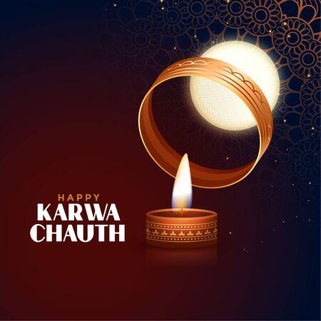 happy karwa chauth festival card with full moon and diya