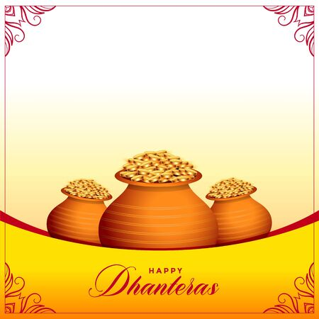 happy dhanteras hindu festival banner with gold coin pots Illustration